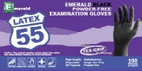 Emerald Black Latex 55 PF Exam Gloves, Small, Box