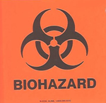 4 X 4 BioHazard Stickers , 5/PK
